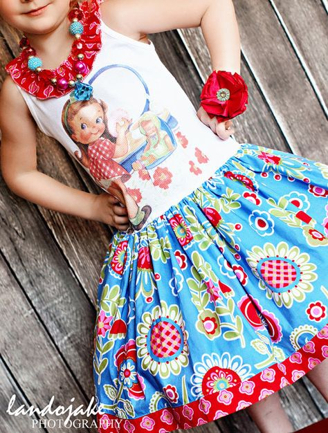 love this fabric...wish I knew how to get those t shirt transfers... so cute!