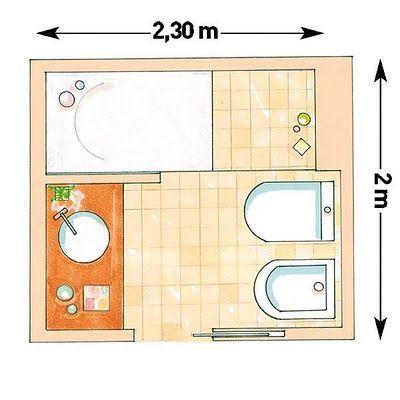 Modernos baños pequeños que no llegan a 5 m2 con planos   Office Interior Design