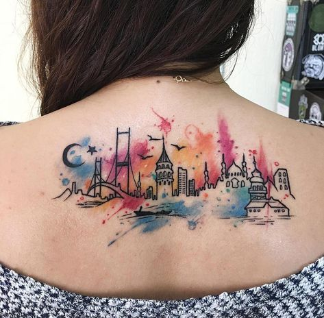 Istanbul City Tattoos Skyline Tattoo Watercolor Tattoo