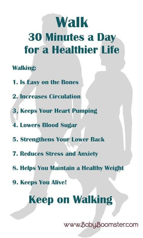 Walk 30 minutes a day for a healthier life.  #fitnessover50 #fitness #walking #babyboomers #weightloss #reducestress #over50 #ageless