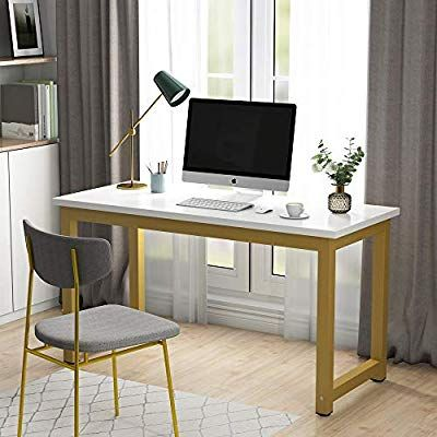 Amazon Com Tribesigns Modern Computer Desk 55 Inches Large Office Desk Computer Table Study Writing Desk Large Office Desk White Desk Office Gold Office Desk