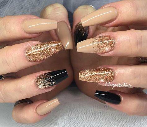 Neutral, Black and Gold Glitter Coffin Nail Art Design
