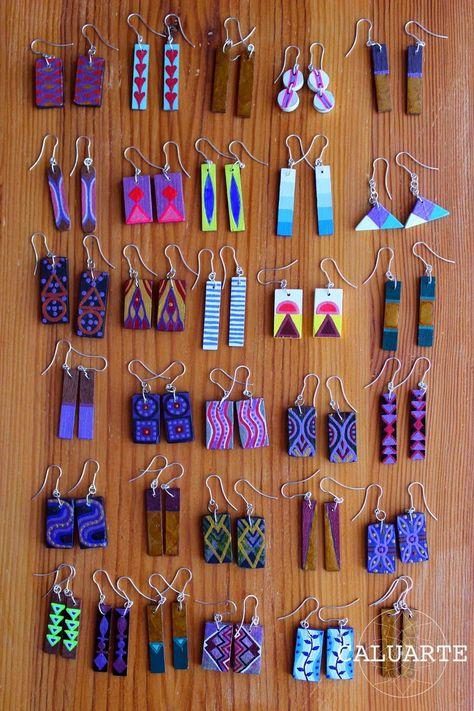 - Caluarte: Hand-painted wooden earrings More -