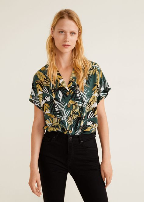 Buttoned flowy blouse -  Women | Mango United Kingdom
