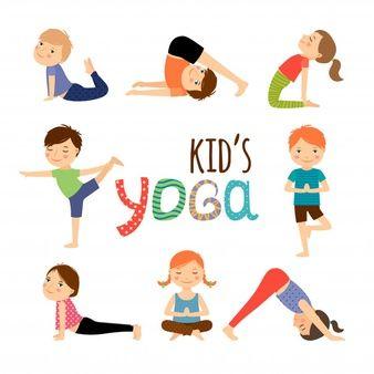 Dibujos Animados De Ninos Yoga Con Diferentes Posturas De Yoga Vector Premium Chico Yoga Posturas De Yoga Para Ninos Yoga Para Ninos