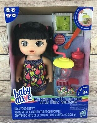 Baby Alive Sweet Spoonfuls Baby With Straight Black Hair New Ebay Baby Alive Black Hair Straight Black Hair