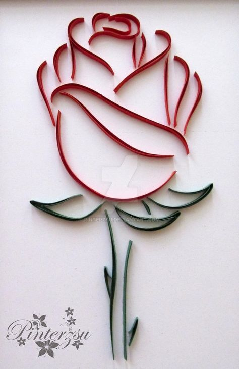 Quilled rose by pinterzsu