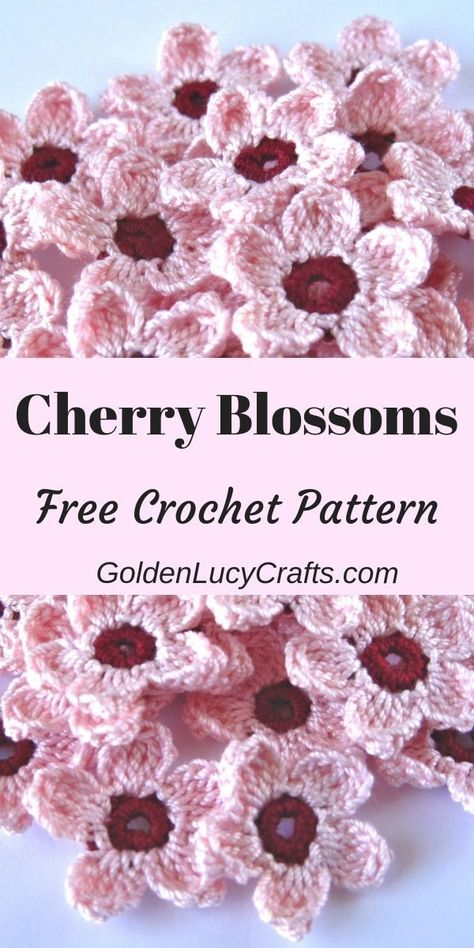 Crochet Cherry Blossoms, free crochet pattern, cherry blossom crochet, Spring crochet Celebrate Spring season with these beautiful crochet Cherry Blossoms! Easy and quick to make, and perfect for any Spring decoration! Crochet Wall Art, Love Crochet, Beautiful Crochet, Easy Crochet, Crochet Flowers, Crochet Flower Tutorial, Things To Crochet, Crochet Leaves, All Free Crochet