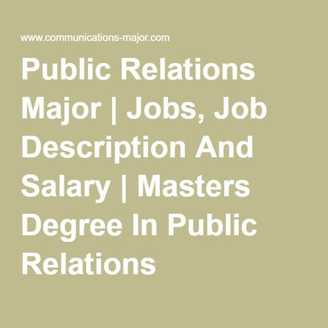 Public Relations Major Jobs, Job Description And Salary - public relations job description
