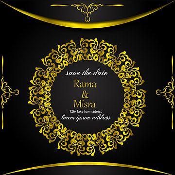 دعوة زفاف الذهب الأسود مع الحدود الأوروبية Black Gold Wedding Gold Wedding Invitations Wedding Invitations
