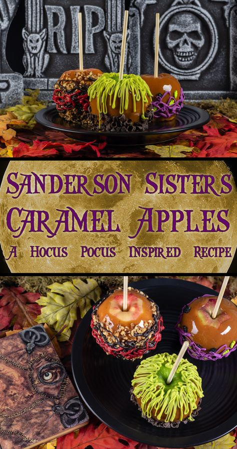 Sanderson Sisters Caramel Apples: A Hocus Pocus Inspired Recipe - - The Geeks are celebrating Halloween early with their recipe for Sanderson Sisters' Caramel Apples inspired by the Disney film Hocus Pocus! Halloween Tags, Halloween Desserts, Halloween Food For Party, Halloween Birthday, Baby Halloween, Halloween Apples, Hocus Pocus Halloween Ideas, Disney Halloween Decorations, Halloween Garage