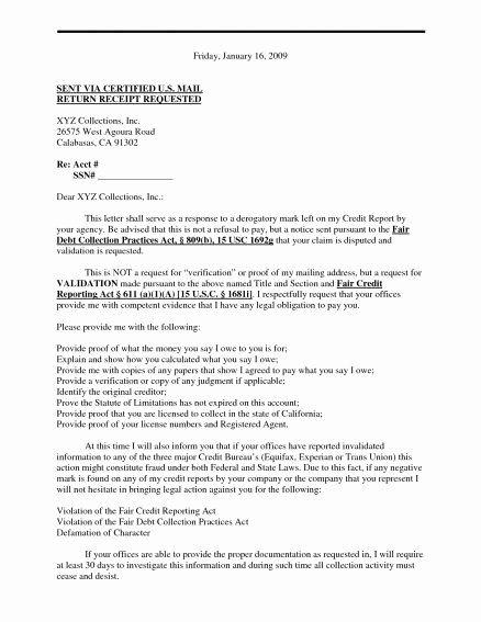 Debt Validation Letter Template Unique New Debt Validation Letter Sample Download Letter Templates Letter Sample Lettering
