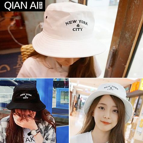 7fdc55f26cd Basin of south Korean hat embroidery street dance flat-topped fisherman hat  shading cloth bucket