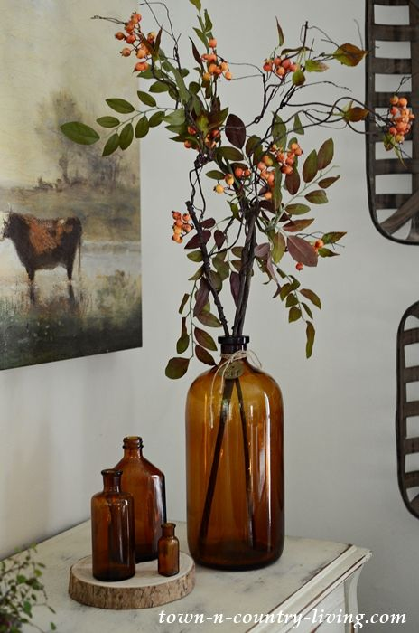 Home Decoration Ideas Decor Country style fall home tour. Vintage Brown Bottles for Fall Decorating.Home Decoration Ideas Decor Country style fall home tour. Vintage Brown Bottles for Fall Decorating