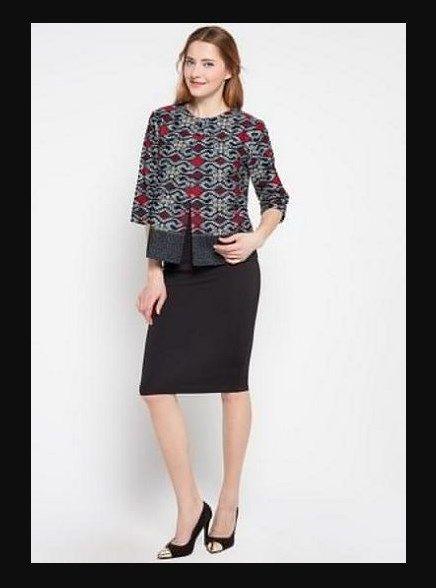Model Baju Batik Atasan Kombinasi Bawahan Rok Hitam Model Batik