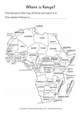 Kenya Fun Facts And Printables For Kids Worksheets For Kids Africa Map Country Maps Africa geography worksheets