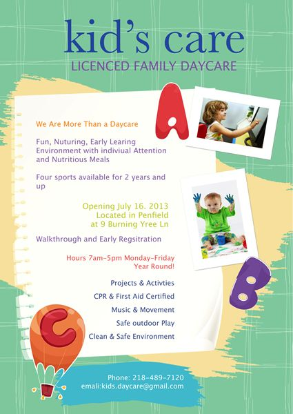 Here is a top idea for you to advertise your business on licensed - daycare flyer