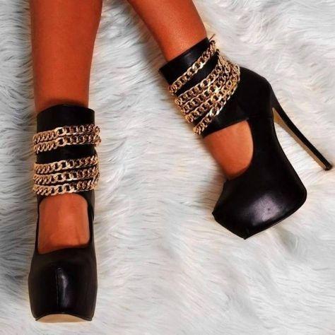 Black Platform Stripper Heels Gold Chains Stilettos Ankle Strap Pumps for Party, Night club, Music festival   FSJ