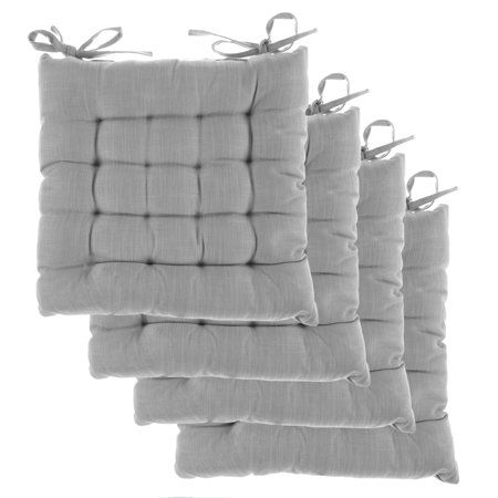 Dream Home Set Of 4 Indoor Chair Pads Inches Square Tufted Seat Cushions Pillows With Ties Pillowset Indoor Chairs Tufted Seat Cushion Chair Pads