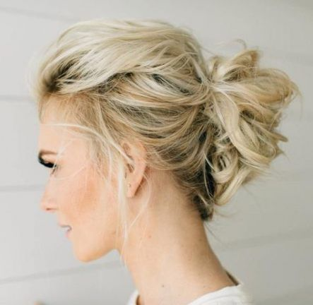 49 Ideas Wedding Hairstyles Medium Length Boho Messy Buns Hairstyle Women Pinterest Thin Hair Updo Updos For Medium Length Hair Short Hair Updo