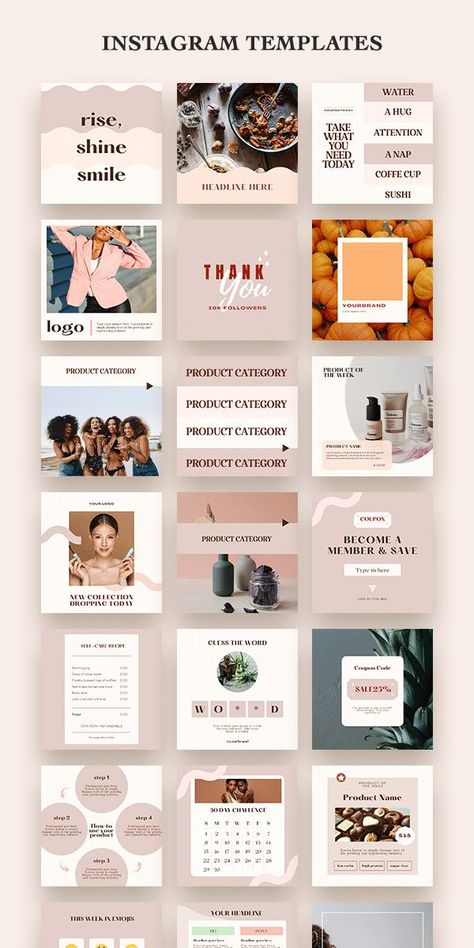 Product Based Online Business Instagram Feed Layout Templates Design. Social Media Marketing Canva.