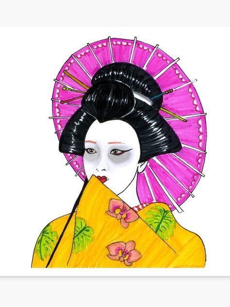 Japanese Geisha Woman Oriental Art Design