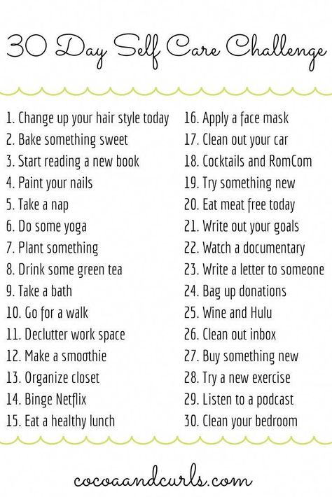 Join in on this fun self care challenge! We tend to think about ourselves last, let's change that for the next 30 days. 😊 #healthandwellbeing