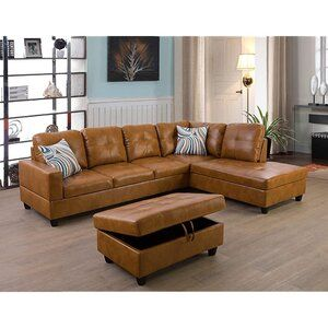 Latitude Run Abhiraam 104 Sectional With Ottoman Wayfair In 2020 Leather Couches Living Room Lifestyle Furniture Sectional Sofa
