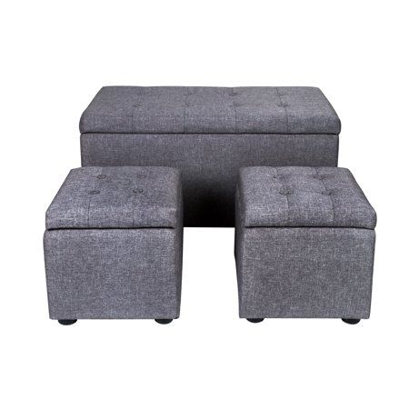 Pleasing Samincom 3 Piece Storage Bench Cube Ottoman Set H44 X W84 X Gmtry Best Dining Table And Chair Ideas Images Gmtryco