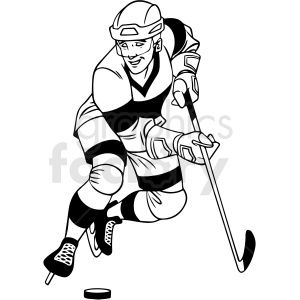 Black And White Hockey Player With Puck Clipart Royalty Free Clipart 412932 In 2020 Clip Art Black And White Hockey Players
