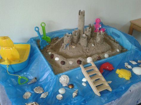 Zandkasteel op thematafel. Iedere leerling maakt van wc/ keukenrol een toren. Insmeren met lijm en door het zand rollen.