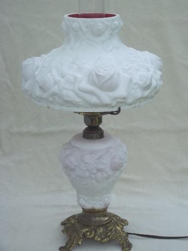 Vintage Fenton Glass Lamp Puffy Roses Cranberry Cased White Milk Glass Lamp Milk Glass Lamp White Milk Glass Fenton Lamps