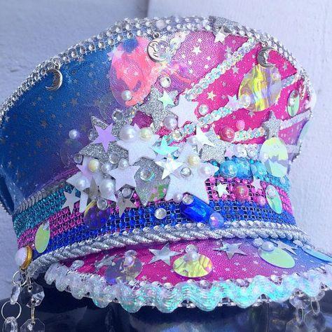Supernova LED Captain's Hat: festival hat, military hat, rave, edc, burning man marching band, galax