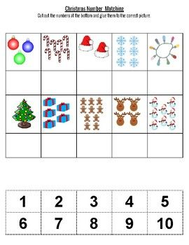Christmas Number Matching 1 10 With Images Kids Math Worksheets