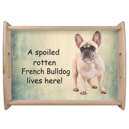 A Spoiled Rotten French Bulldog Lives Serving Tray Zazzle Com