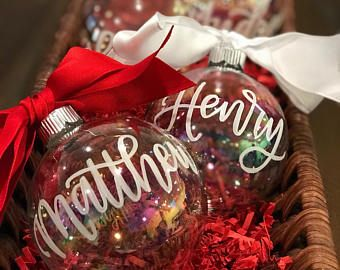 Personalized Christmas Balls.Personalized Christmas Ornament Calligraphy Hand Lettered