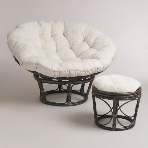 Ivory Faux Fur Papasan Cushion World Market Papasan Chair
