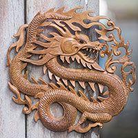 Wood relief panel, 'Twilight Dragon'