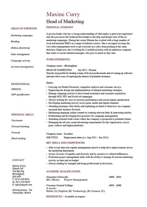 Head of Marketing resume example, CV, template, director, manager