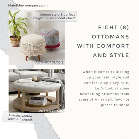Relax, check out these popular ottomans! #ottoman #furniture #comfortable #stylish #potterybarnfurniture #wayfair #targetfinds #westelm #walmarthome #anthropologiehome