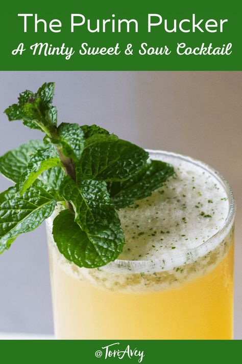 The Purim Pucker - A sweet and sour cocktail reminiscent of iced mint lemonade. Great choice for a Purim celebration. | ToriAvey.com #purim #kosher #cocktailhour #mixology #cocktail #TorisKitchen