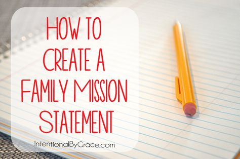 How to create a family mission statement with free printables.   IntentionalByGrace.com