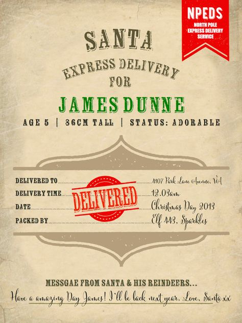 Custom Personalized SANTA DELIVERY NOTE Letter by SweetPeaSunday - delivery docket