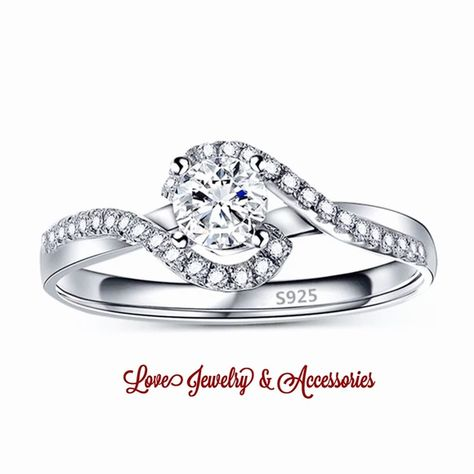 Sale Elegant S925 Stamped Engagement Ring Size 8 Love