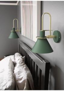 Oklak Green Light Fixture On Wall In 2020 Wall Lights Bedroom