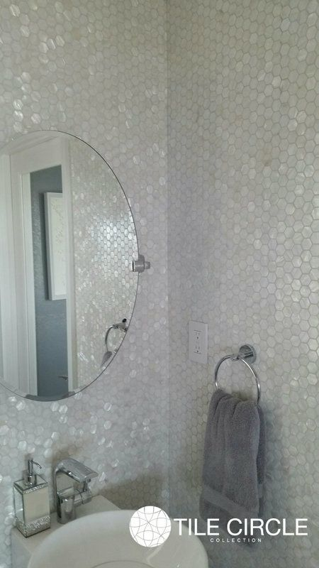 Free Shipping Shop Our Mother Of Pearl Tile Collection Pearl Shell Hexagon Tiles Look White Tile Bathroom Floor White Pearl Tiles Mother Of Pearl Backsplash