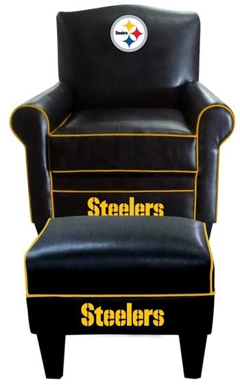 Charming Pittsburgh Steelers~ Leather Game Time Chair And Ottoman   Steelers    Pinterest   Pittsburgh Steelers, Ottomans And Gaming