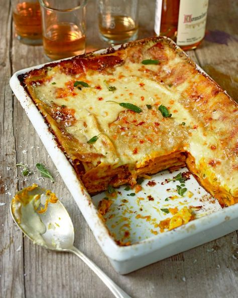 Butternut squash lasagna, flavored with sage and grated nutmeg and layered with sheets of homemade pasta, is autumn in a baking pan.