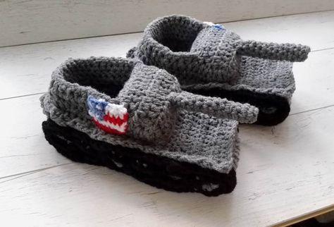 Crochet Tank Slippers American Flag Tank Slippers Boyfriend Gifts