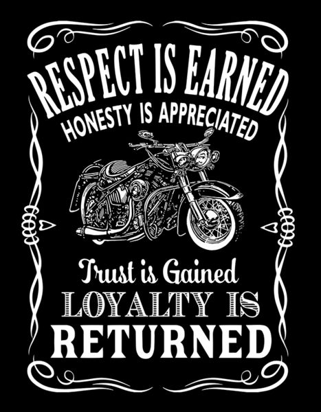 Respect is earned Honesty is appreciated Trust is gained Loyalty is returned Bike Quotes, Motorcycle Quotes, Motorcycle Art, Hyabusa Motorcycle, Motocross Quotes, Motorcycle Wiring, Motorcycle Tattoos, Motorcycle Garage, Bike Art